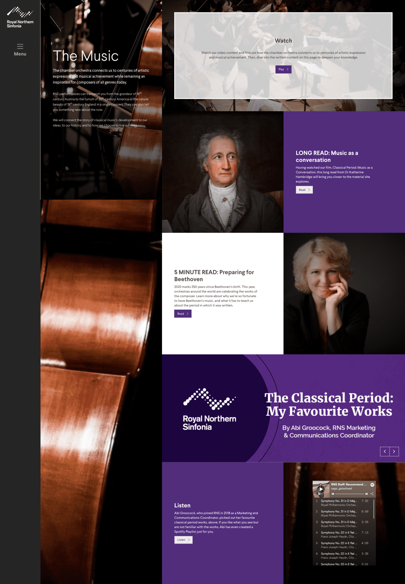 Royal Northern Sinfonia | Portfolio | Hush Digital